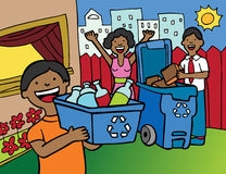 Family Recycling. Cartoon image of a family having fun recycling at home royalty free illustration