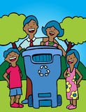 Family Recycling. Cartoon image of a family having fun recycling at home Royalty Free Stock Image
