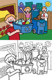 Family Recycling. Cartoon image of a family having fun recycling at home - both color and black / white versions Royalty Free Stock Image