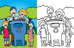 Family Recycling. Cartoon image of a family having fun recycling at home - both color and black / white version Stock Photos
