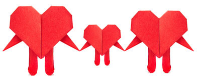 Family of red heart origami Stock Photo