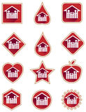 Family red icon set Stock Photos