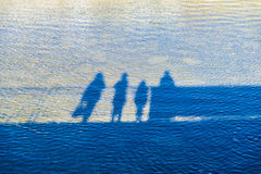 Family reflected in a river Stock Images