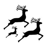 Family of reindeer jumping and running on a white background. Vector stock illustration