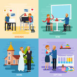 Family Relationship Character Icon Set Stock Images