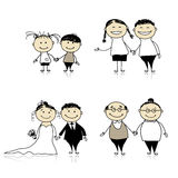Family relationship-children, adults, seniors Royalty Free Stock Photography
