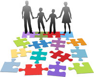 Family relationship problem counseling solution. Puzzle pieces symbols of problems facing broken family and solution Royalty Free Stock Photo
