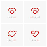 Family and relationships - love logo set. Love vector logo set. Red hearts, mother and child, baby care symbols - family, pregnancy and relationships icons Royalty Free Stock Photography