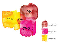 Family relationships between three watercolor brush design frame  intersection  you ,me and child Stock Image
