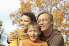 Family  relax in autumn park Stock Photo