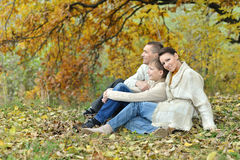 Family relax in autumn park Royalty Free Stock Photos