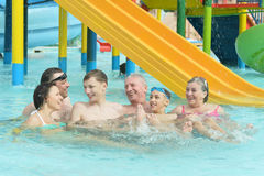 Family relax in  pool Stock Photography