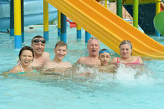 Family relax in  pool Stock Image