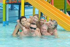Family relax in  pool. Portrait of a happy family relax in the pool Stock Photography