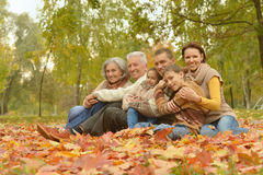 Family relaxing in autumn park Royalty Free Stock Image