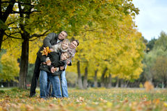 Family relaxing in autumn park stock photography
