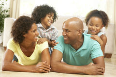 Family Relaxing At Home Together royalty free stock images