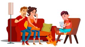 Family Relaxing At Home Together Vector. Isolated Illustration royalty free illustration