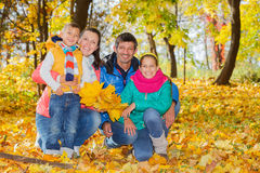 Family relaxing in park Royalty Free Stock Photos