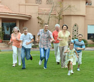 Family relaxing at resort Stock Image