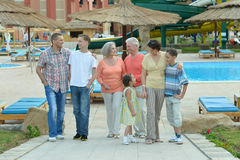 Family relaxing at resort Royalty Free Stock Photo