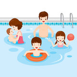 Family Relaxing In Swimming Pool Royalty Free Stock Photography