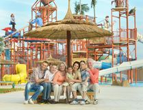 Family relaxing at vacation resort Royalty Free Stock Images