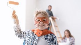 Family doing home renovation Stock Photo
