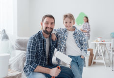 Family renovating their new apartment Stock Images