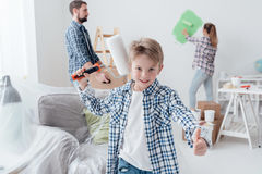 Family renovating their new apartment royalty free stock images