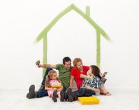 Family repainting their home concept Stock Images