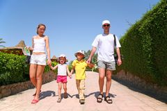 Family on resort. Family with children on resort royalty free stock image