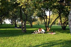 Family rest in park. Family rest in Moscow park Stock Photography