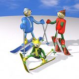 Family rest in the winter, mountain skiers Stock Photography
