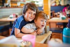 Family at restaurant royalty free stock photos
