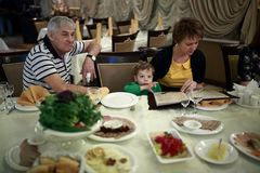 Family in restaurant Royalty Free Stock Image