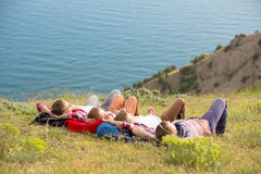 Family resting in mountains Royalty Free Stock Photography