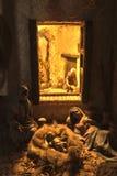 Family resting. Popular spanish christmas Nativity scene, close up stock photos