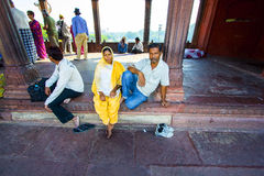 Family rests in Jama Masjid Mosque, Royalty Free Stock Photo