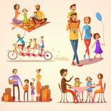 Family Retro Cartoon Set Royalty Free Stock Photography