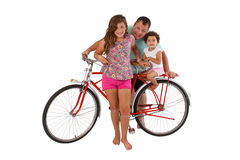 Family for retro riding bicycle Royalty Free Stock Images