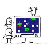 Family & retro video game vector illustration