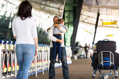 Family reunion airport. Happy family reunion at airport Royalty Free Stock Photos