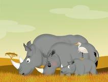 Family of rhino in the savannah Royalty Free Stock Photos