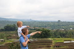 Family in rice fields of Bali Stock Image