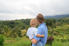 Family in rice fields of Bali Royalty Free Stock Images
