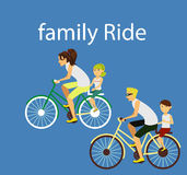 Family ride bicycle Stock Photos