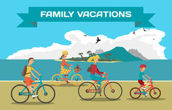 Family ride the bike on the beach. Healthy leisure and freedom Royalty Free Stock Photography