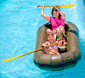Family ride rubber boat Royalty Free Stock Photos