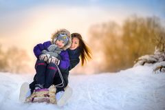 Family rides the sledge in the wood stock photography